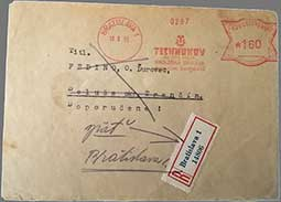 Use of butterfly franking machines after the liberation of Czechoslovakia