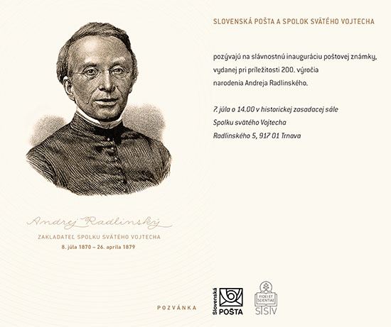 Stamp Inaugurations Ceremonial inauguration of the postage stamp Personalities: Andrej Radlinský (1817 – 1879)
