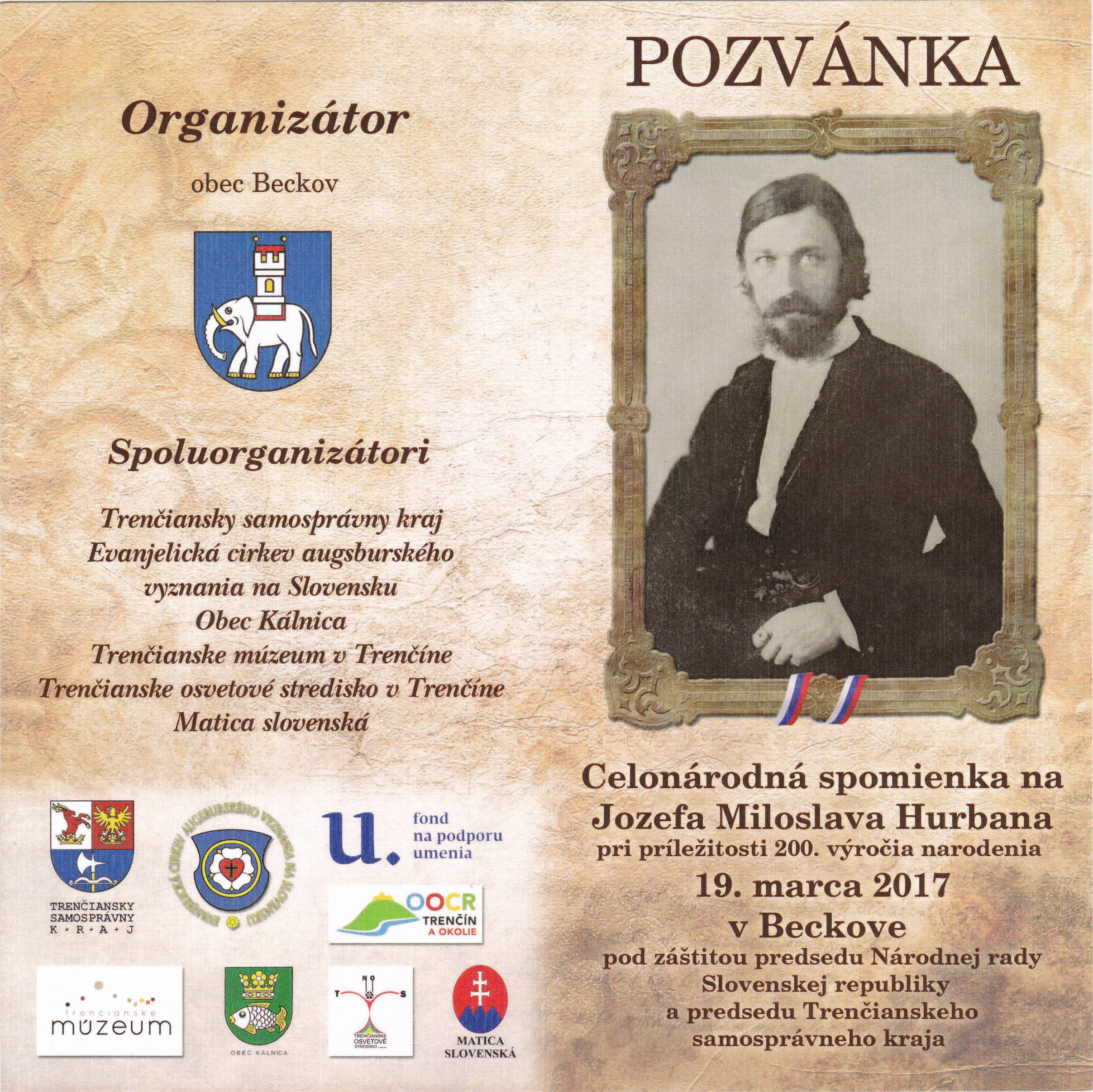 Stamp Inaugurations Ceremonial introduction of the postage stamp Personalities: Jozef Miloslav Hurban (1817 - 1888)