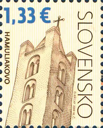 Postage Stamp Cultural heritage of Slovakia: Church of St. Cross in Hamuliakovo