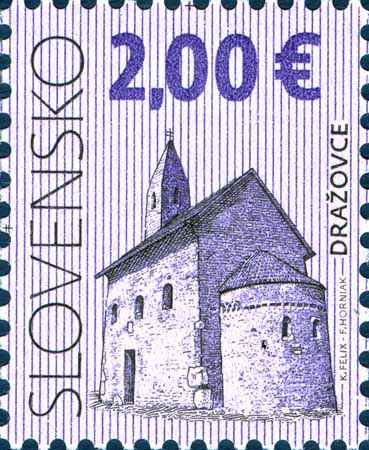 Postage Stamp Cultural heritage of Slovakia: Church of St. Michael the Archangel in Drazovce