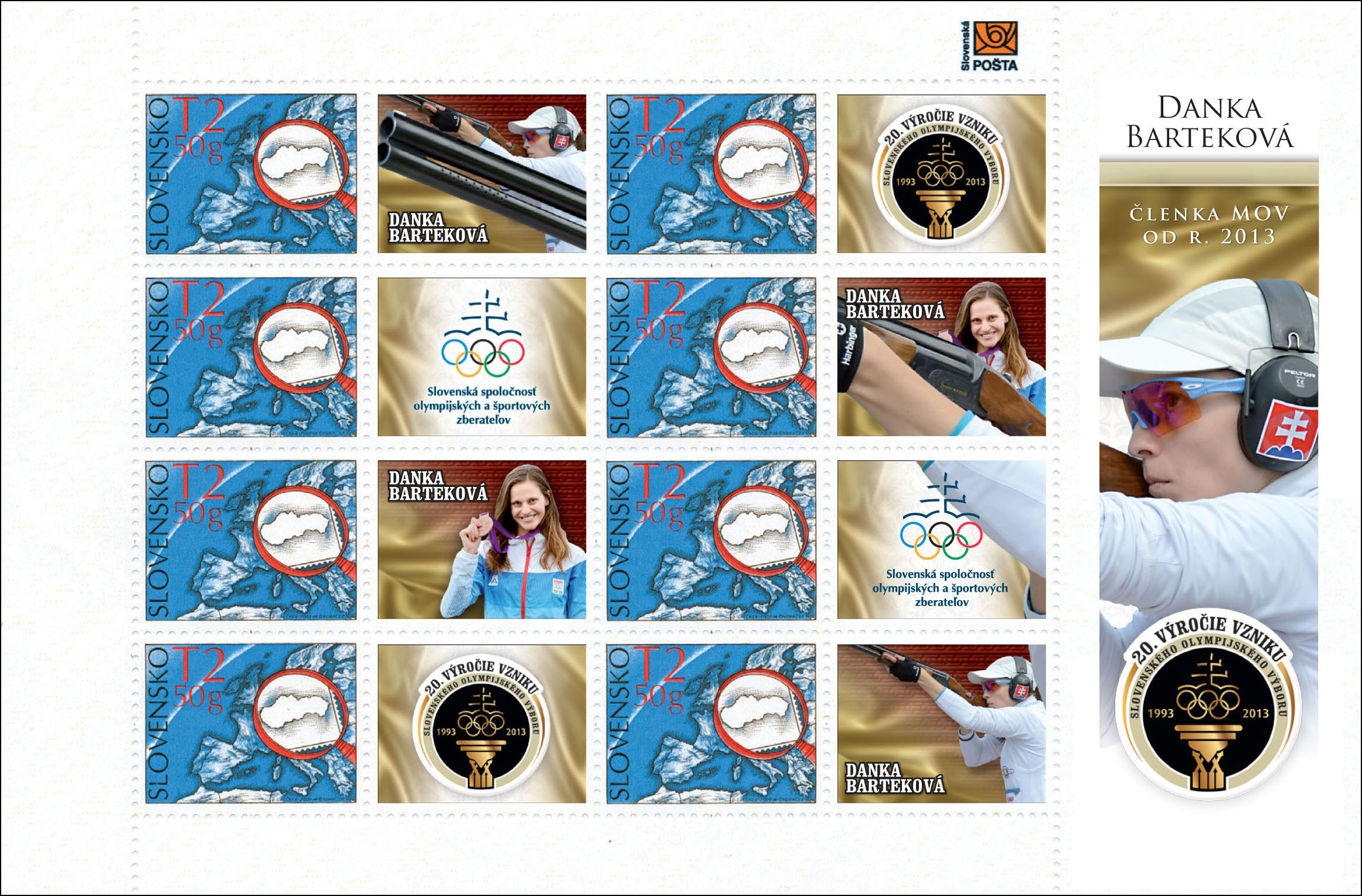 New issues, inaugurations, the most beautiful stamps Issue of personalised adjusted printing sheet (UTL): 20th anniversary of the SOC - Danka Bartekova member of the IOC