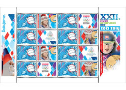 Issue of personalised adjusted printing sheet (UTL): Anastasia Kuzminová - Gold Medal Winter Olympics Sochi 2014