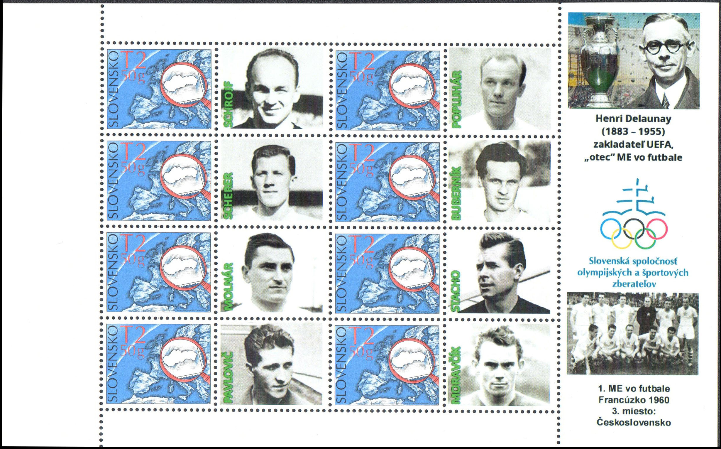 Personalised adjusted printing sheet (PersUTL) 1st European Football Championship France 1960
