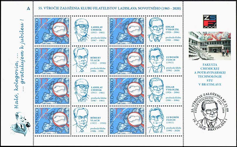55th anniversary of the philatelists club of Ladislav Novotný in Bratislava (postage stamp ZSF)