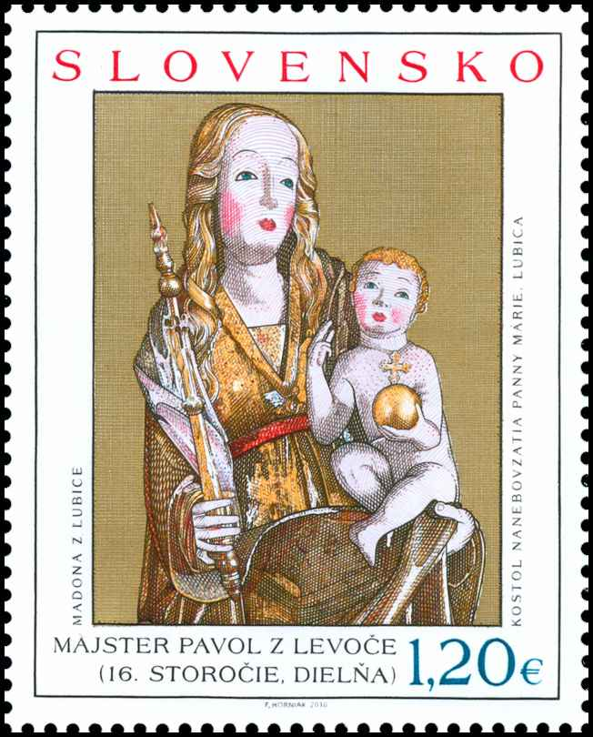 Po�tov� zn�mka Umenie: Majster Pavol z Levo�e - Gotick� madona z�ubice