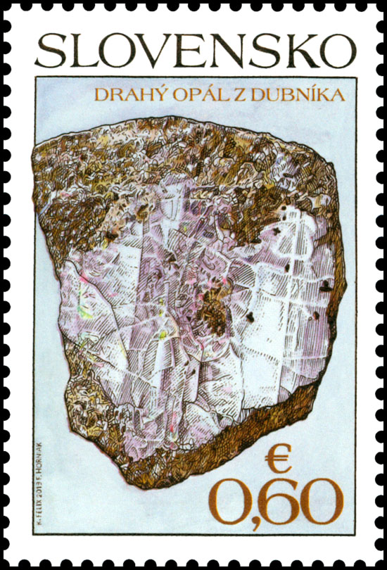 Poštová známka Ochrana prírody: Slovenské minerály – Drahý opál z Dubníka