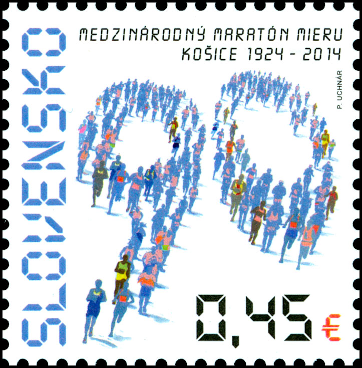 Postage Stamp 90 years of the International Kosice Peace Marathon