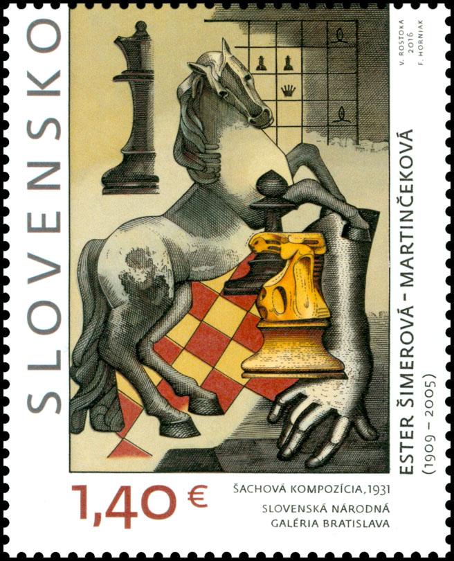 Poštová známka Umenie: Ester Šimerová - Martinèeková - Šachová kompozícia
