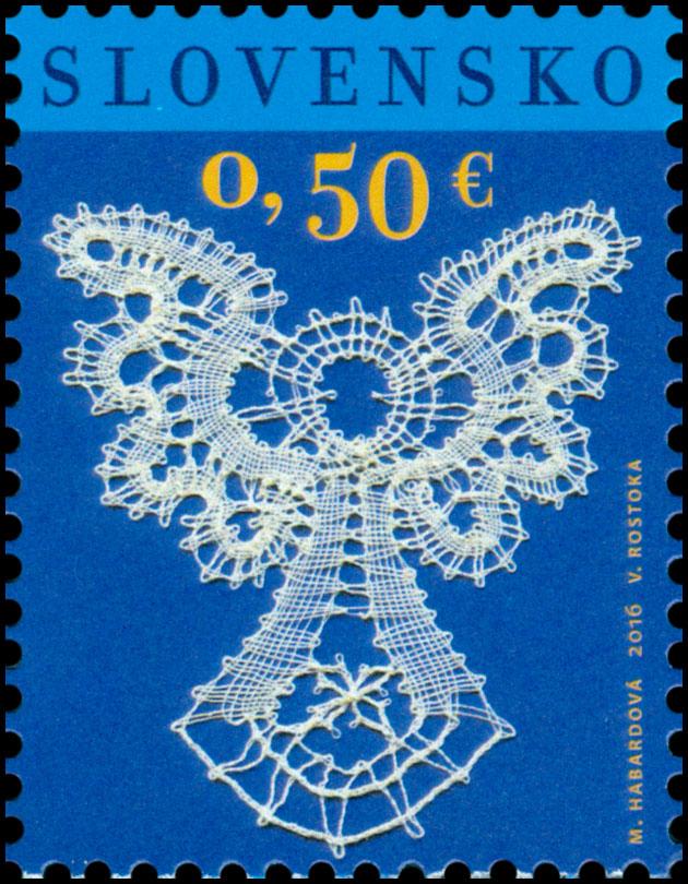 Poštová známka Vianoce 2016: Paličkovaná čipka
