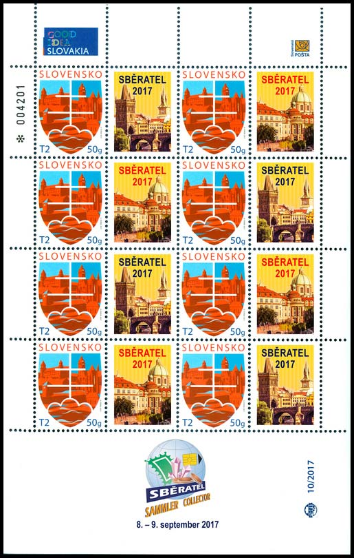 Personalised adjusted printing sheet (PersUTL) International Collectors Fair SBĚRATEL (COLLECTOR) PRAHA 2017 (postage stamp State motif)