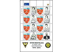 Issue of personalised adjusted printing sheet (UTL): Inter Bratislava - 40th anniversary of the 1st title of Czechoslovak champion in basketball (1979 - 2019)