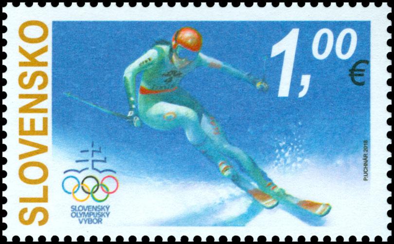 3d0d882df Poštová známka XXIII. Zimné olympijské hry PyeongChang 2018 ...