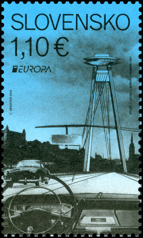Postage Stamp EUROPA 2018: Bridges - The SNP Bridge in Bratislava