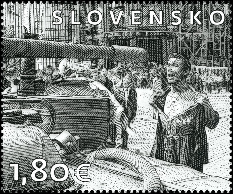 Postage Stamp Art: Ladislav Bielik (1939 - 1984) � A man with a bare chest