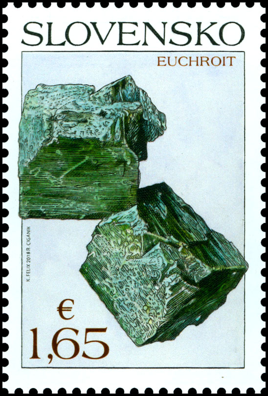 Postage Stamp Nature protection: Slovak minerals - Euchroite