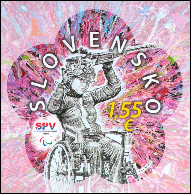 Postage Stamp XVI Summer Paralympic Games Tokyo 2020 - Sports shooter in a wheelchair