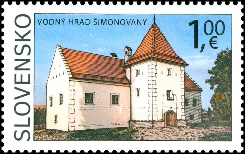 Postage Stamp Beauties of our Homeland: Manor-house Water Castle in Simonovany
