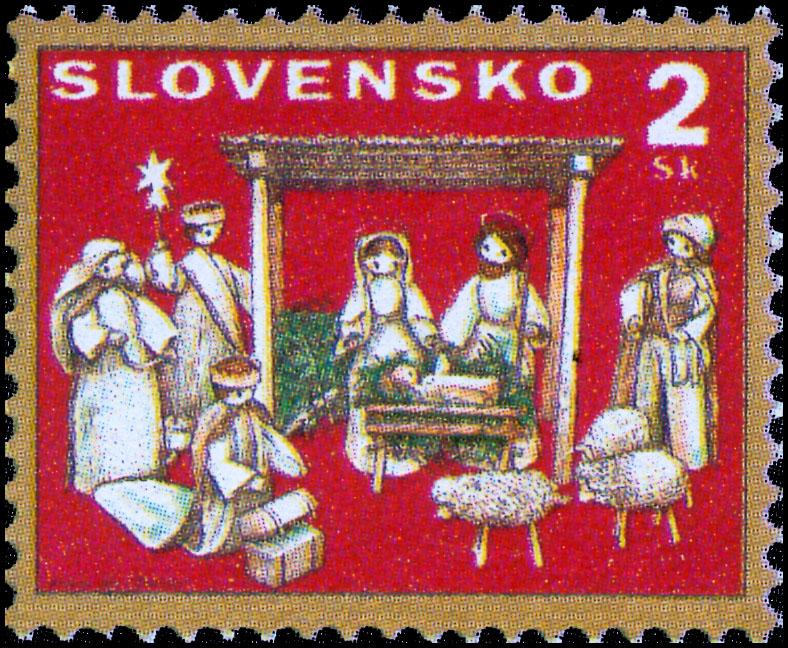 Poštová známka Vianoce 1995: Betlehem zo šúpolia