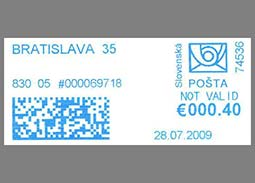 Interesting facts about Slovak franking meters - Using NOT VALID inscription on blue DEKVS