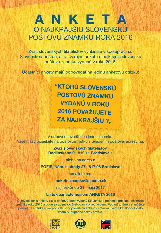 Anketa o najkrajšiu slovenskú poštovú známku za rok 2016