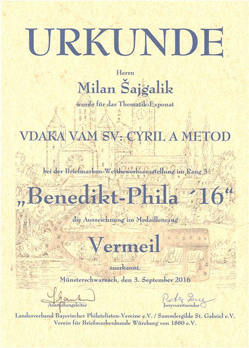 Pekný úspech M. Šajgalíka na filatelistickej výstave Benedikt-Phila´16 v Nemecku