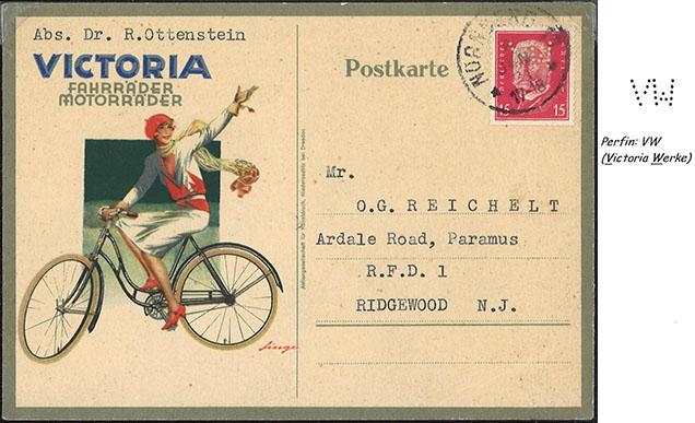 Poštový lístok firmy Victoria Werke s perfinom