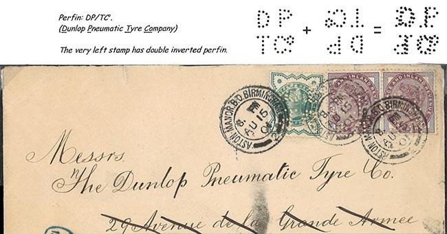Poštový lístok firmy Dunlop Pneumatic Tyre Company s perfinom