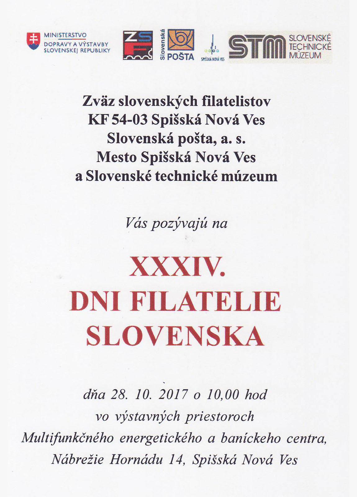 XXXIV. Dni filatelie Slovenska 2017 v Spišskej Novej Vsi
