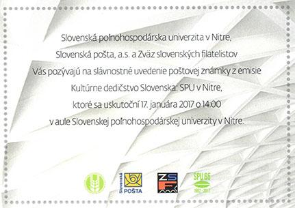 Slávnostné uvedenie poštovej známky Kultúrne dedièstvo Slovenska: SPU v Nitre