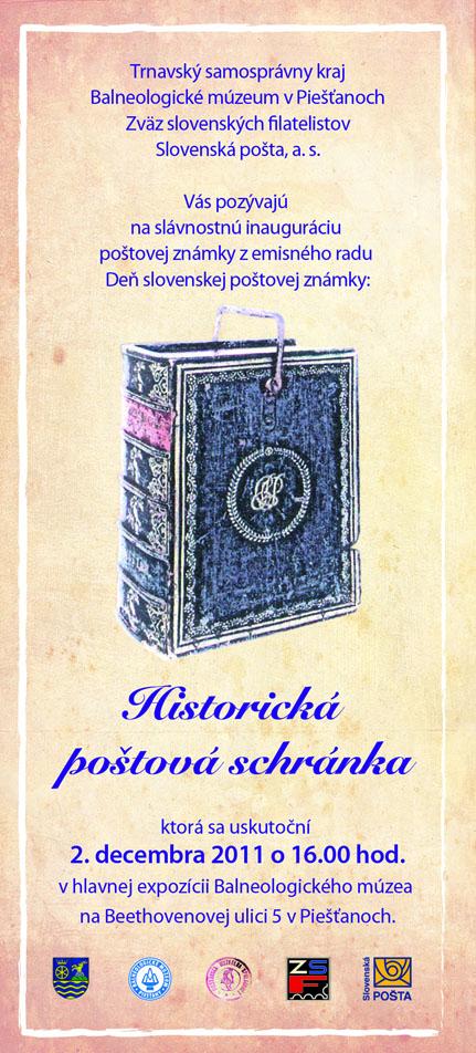 Pozvánka na inauguráciu poštovej známky Deň poštovej známky: Historická poštová schránka v Piešťanoch