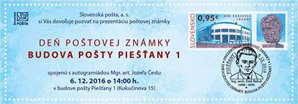 Slávnostná prezentácia poštovej známky Deň poštovej známky: Budova pošty Piešťany 1