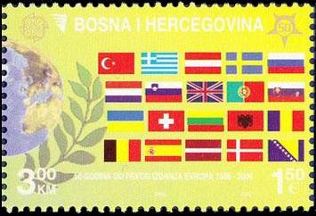 Slovaciká - Bosna a Hercegovina - 50. výročie vydania prvej známky EUROPA 1956 - 2006 - Vlajka Slovenska