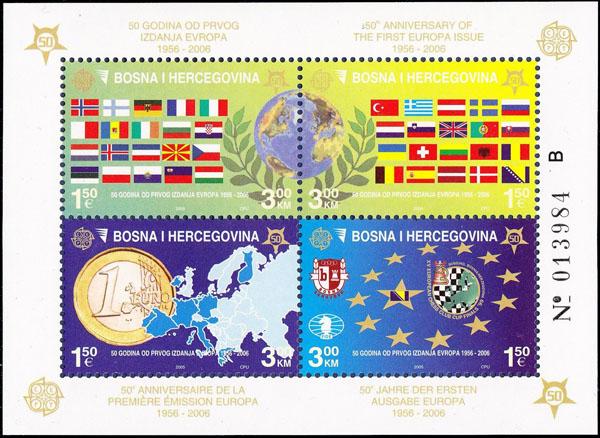 Slovaciká - Bosna a Hercegovina - 50. výroèie vydania prvej známky EUROPA 1956 - 2006 - Vlajka Slovenska