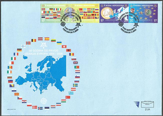 Slovaciká - Bosna a Hercegovina - 50. výroèie vydania prvej známky EUROPA 1956 - 2006 - Vlajka Slovenska, hranice Slovenska