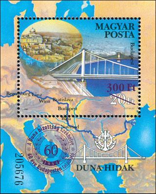 Slovaciká - Maďarsko - Dunajské mosty / 60 rokov Dunajskej komisie - Južné Slovensko, Bratislava, Dunaj