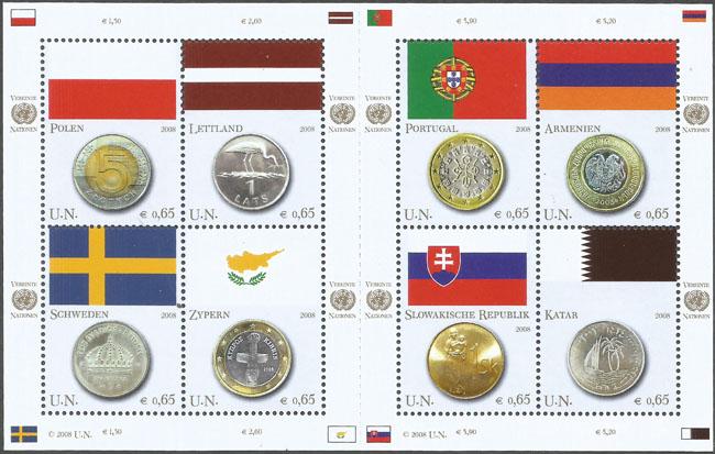 Slovaciká - Organizácia spojených národov (Viedeň) - Vlajky a mince - Vlajka Slovenska a slovenská minca