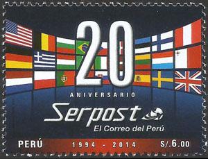 Slovaciká - Peru - 20 rokov Peruánskej poštovej služby Serpost - Vlajka Slovenska