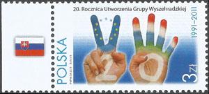 Slovaciká - Poľsko - 20. výročie založenia Višegrádskej skupiny V4 - Vlajka Slovenska