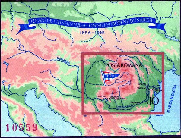 Slovaciká - Rumunsko - 125 rokov Európskej dunajskej komisie - mapa Slovenska, Dunaj