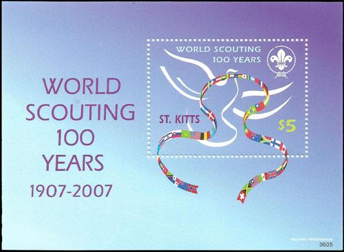 Slovaciká - St. Kitts - 100 rokov svetového skautingu 1907 - 2007 - Vlajka Slovenska